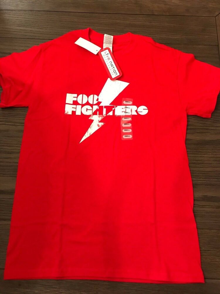 d087a94f Details about NWT OFFICIAL LIVE NATION RED FOO FIGHTERS LIGHTNING BOLT  COTTON T-Shirt SZ SMALL