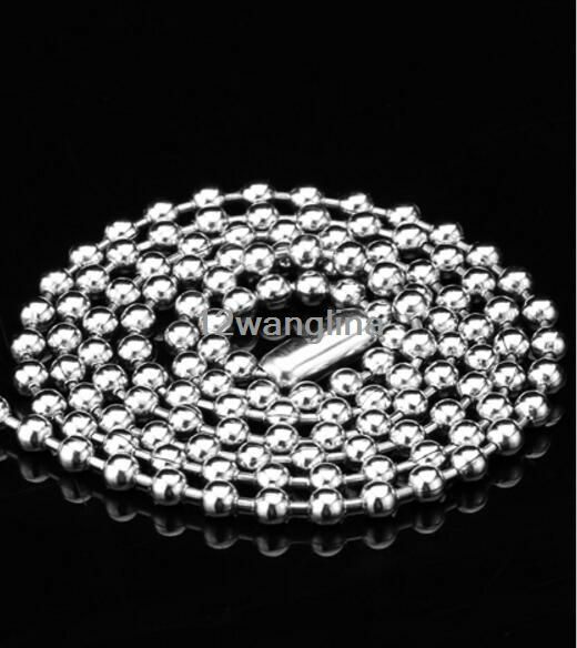 "16/""-36/"" 100pcs//Lot Fashion Bead Ball Chain Stainless Steel Necklace 1.5//2//2.4MM"