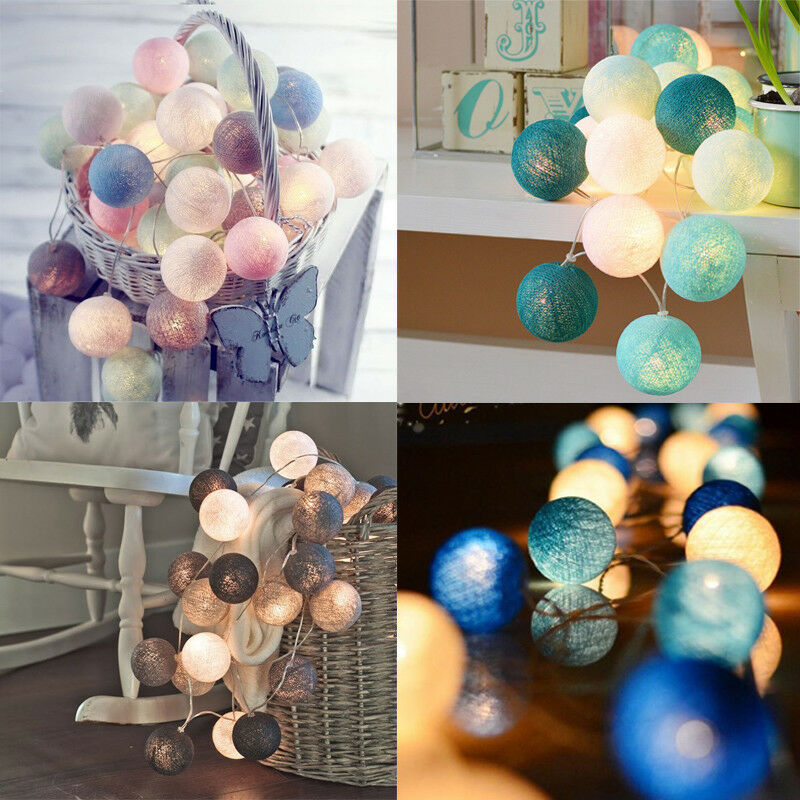 Details About 3m 20 Led Colorful Cotton Ball Lamps String Christmas Wedding Party Fairy Lights