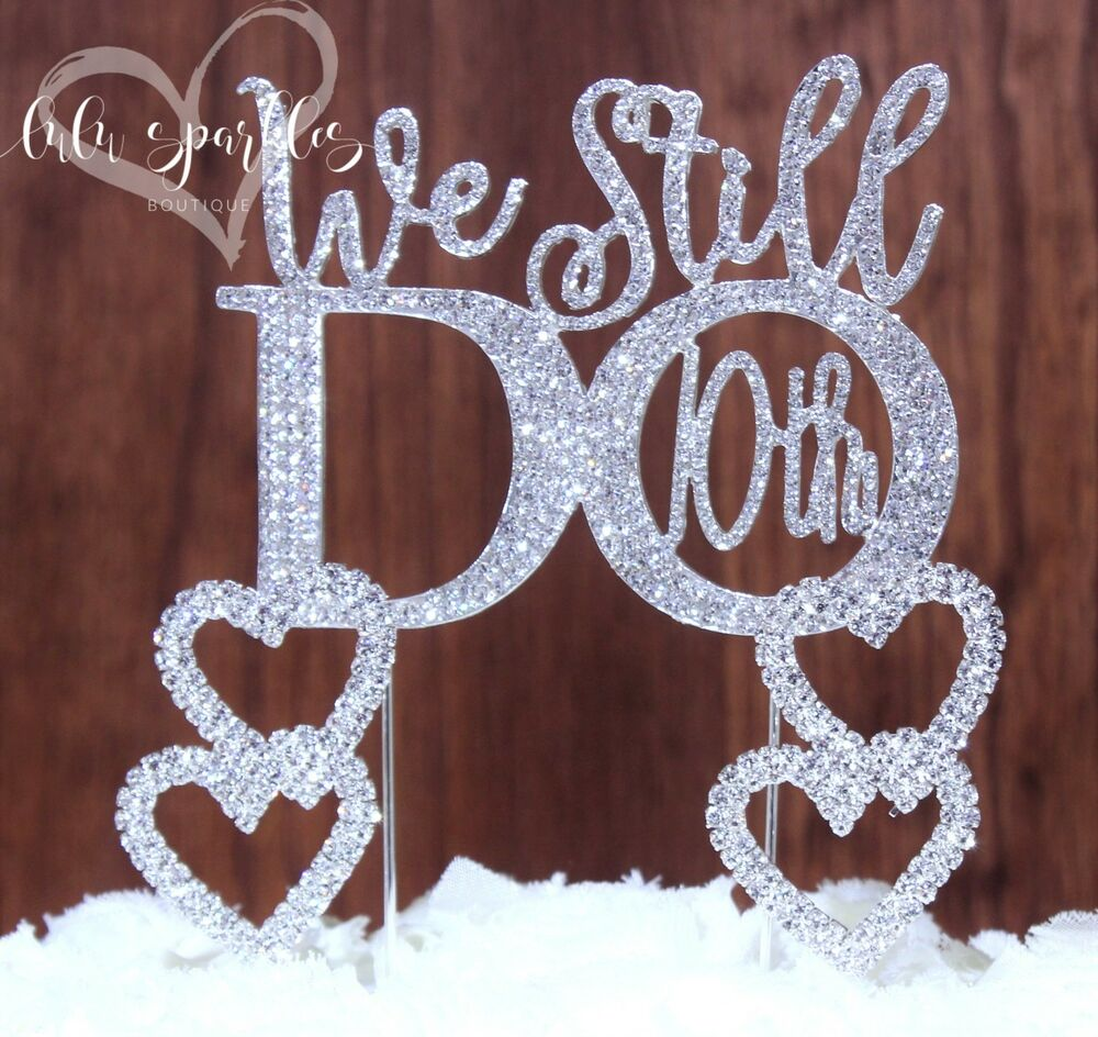 10th Wedding Anniversary Vow Renewal Cake Topper With 2