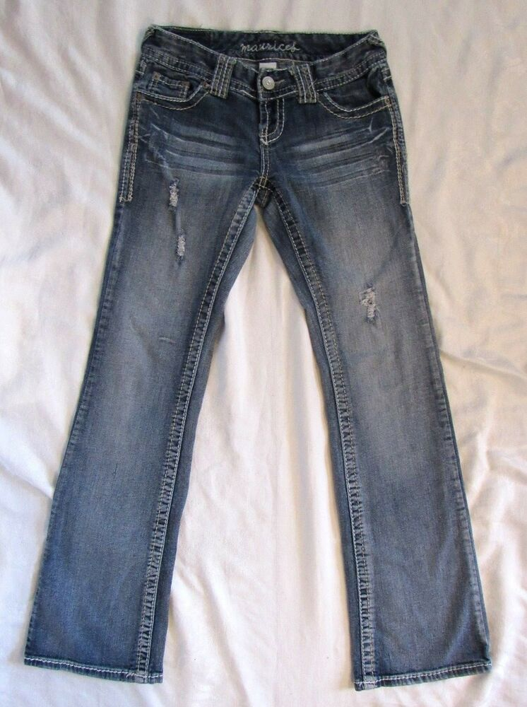 349cb0fe8a6 Details about Maurices Vintage Blue Jeans Sz 3/4 3 4 Curvy Boot Cut  Distressed Low Rise