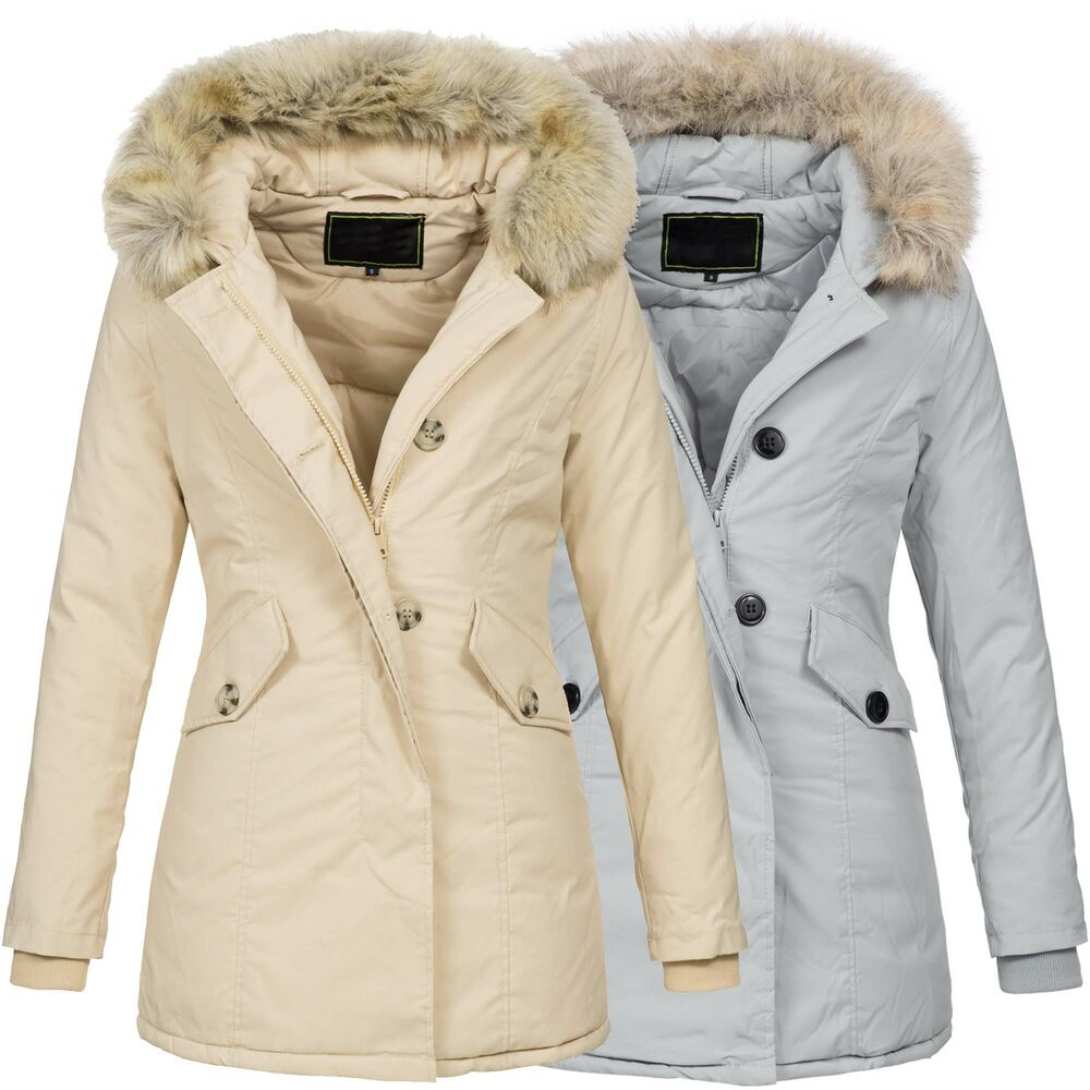 warme damen winterjacke jacke mantel parka kapuze fell gef ttert mantel neu b514 ebay. Black Bedroom Furniture Sets. Home Design Ideas