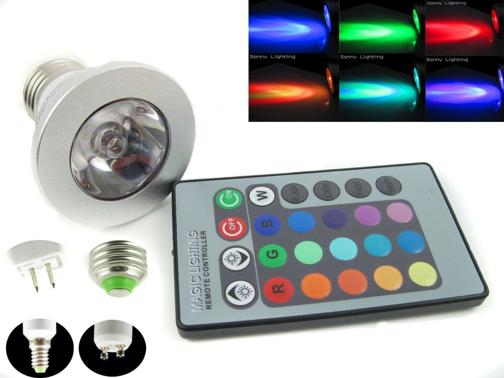 rgb led licht e27 gu10 e14 mr16 3w farbwechsel deckenleuchte lampe 24k remote ebay. Black Bedroom Furniture Sets. Home Design Ideas
