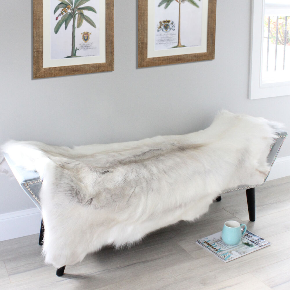 Xl LIGHT GREY SCANDINAVIAN REINDEER FUR SKIN THROW RUG