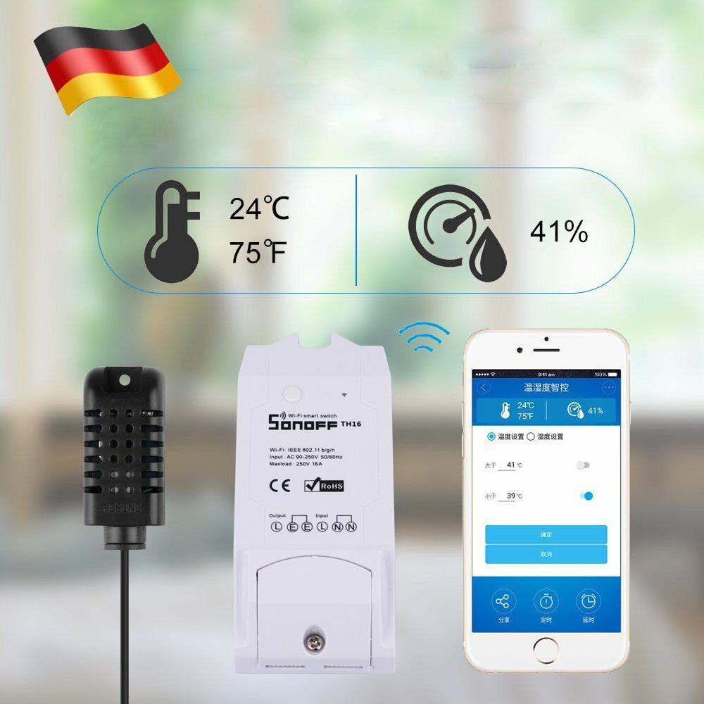 sonoff temperature humidity wifi smart home timer switch temperatur berwachung ebay. Black Bedroom Furniture Sets. Home Design Ideas