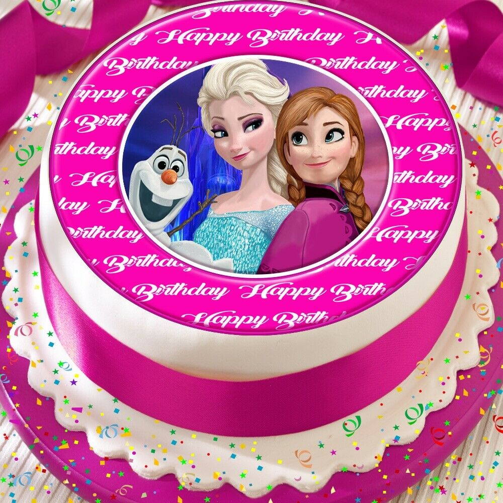 Details About FROZEN ELSA ANNA OLAF PRECUT EDIBLE HAPPY BIRTHDAY CAKE TOPPER DECORATION