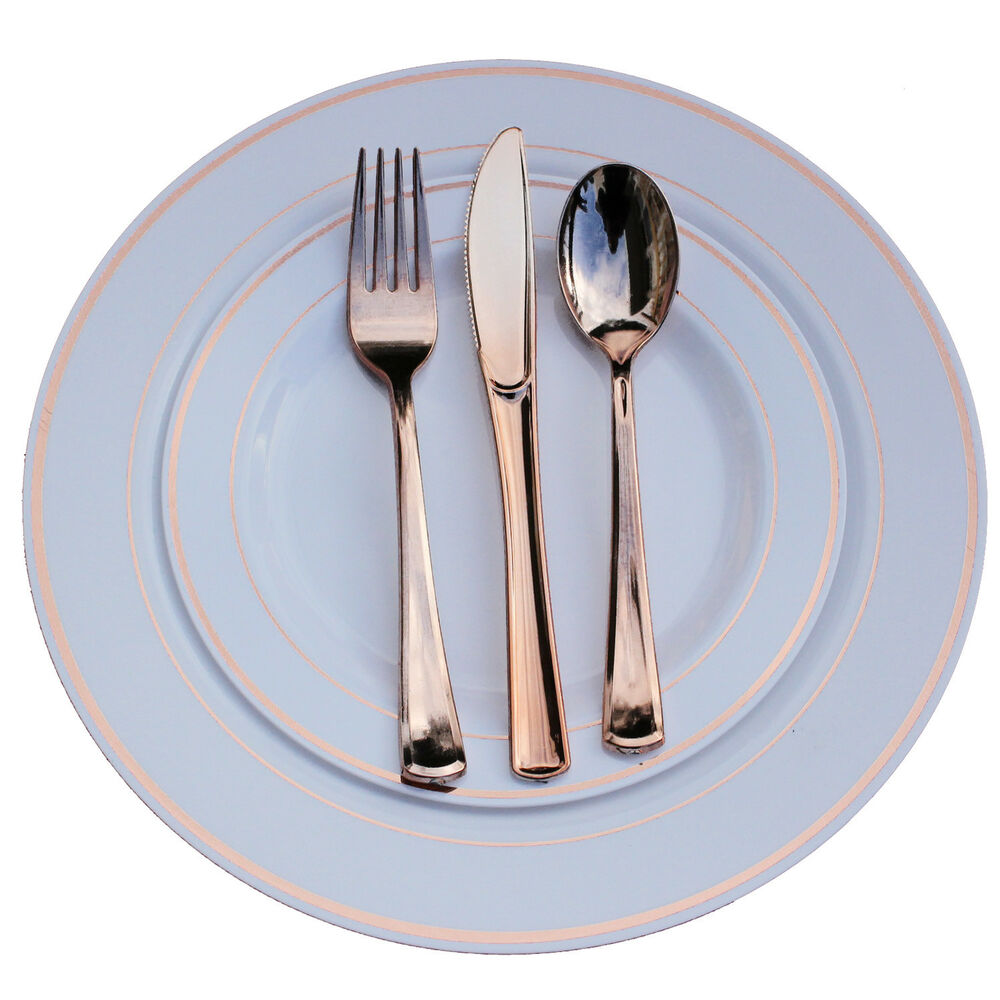 dinner wedding disposable plastic plates silverware set rose gold rim ebay. Black Bedroom Furniture Sets. Home Design Ideas