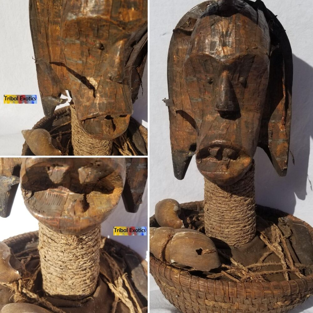 African Sculpture: UNEQUALED Fang Pangwe Reliquary Figure Sculpture Statue