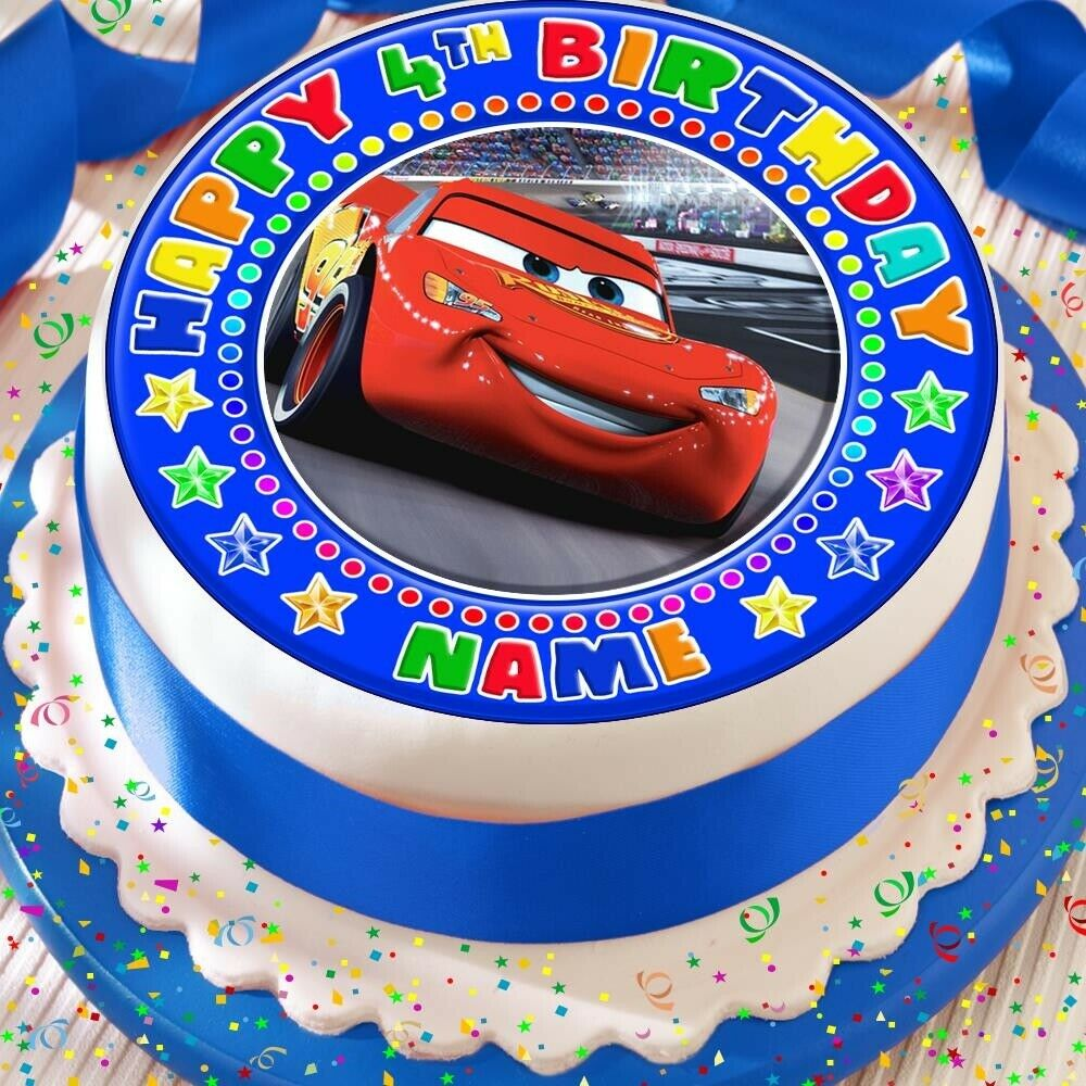 Details About CARS LIGHTENING MCQUEEN PRECUT EDIBLE HAPPY BIRTHDAY CAKE TOPPER DECORATION