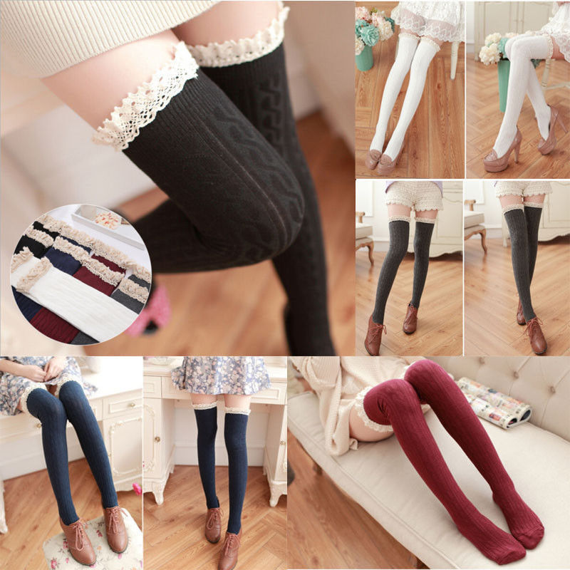 b42bd57625e Details about Women Girls Over The Knee Long Socks Lace Knit Warm Soft Thigh  High Stocking UK