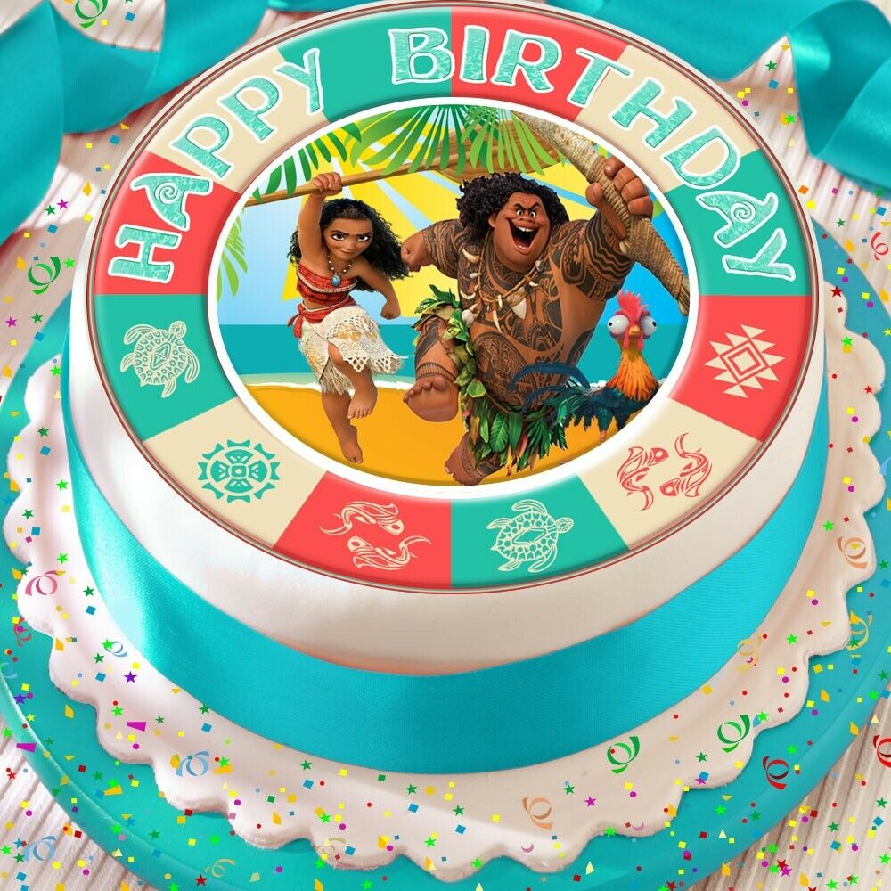 Details About MOANA MAUI PRECUT EDIBLE 75 INCH HAPPY BIRTHDAY CAKE TOPPER DECORATION