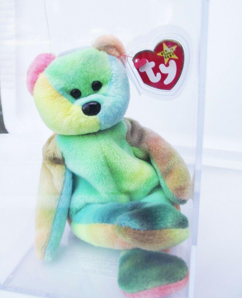 9412bc22698 Details about TY BEANIE BABY 1993 GARCIA BEAR RAINBOW 4TH GEN HANG 3RD GEN  TUSH TAG PVC NEW