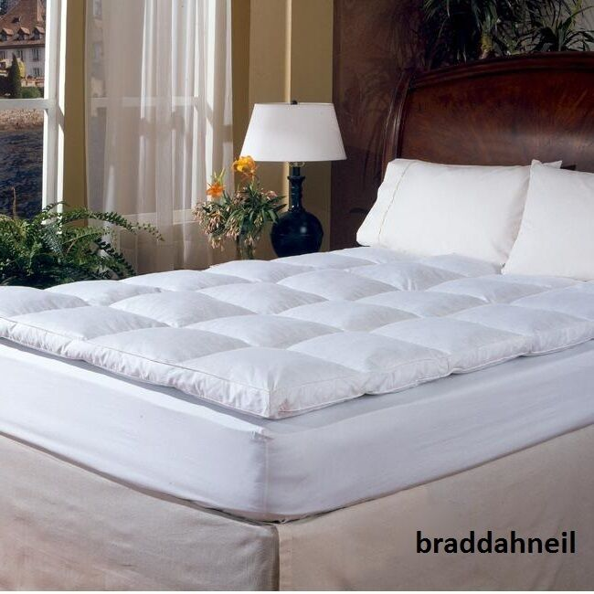 King Size Feather Down Bed Mattress Topper Pad Cover ...