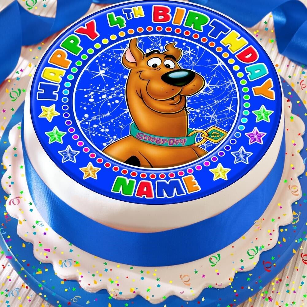 Details About SCOOBY DOO PERSONALISED PRECUT EDIBLE 75INCH BIRTHDAY CAKE TOPPER DECORATION
