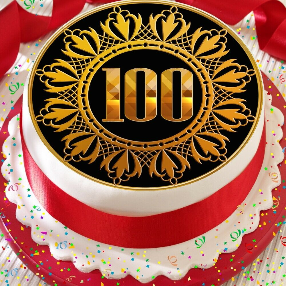 Details About GOLD 100TH AGE 100 BIRTHDAY ANNIVERSARY PRECUT EDIBLE CAKE TOPPER DECORATION