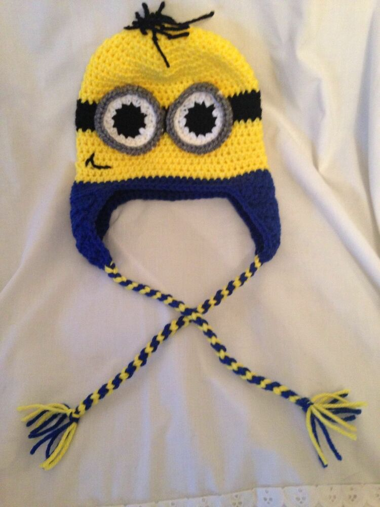 Crocheted Despicable Me Minion Hat All Sizes Available Handmade Ebay