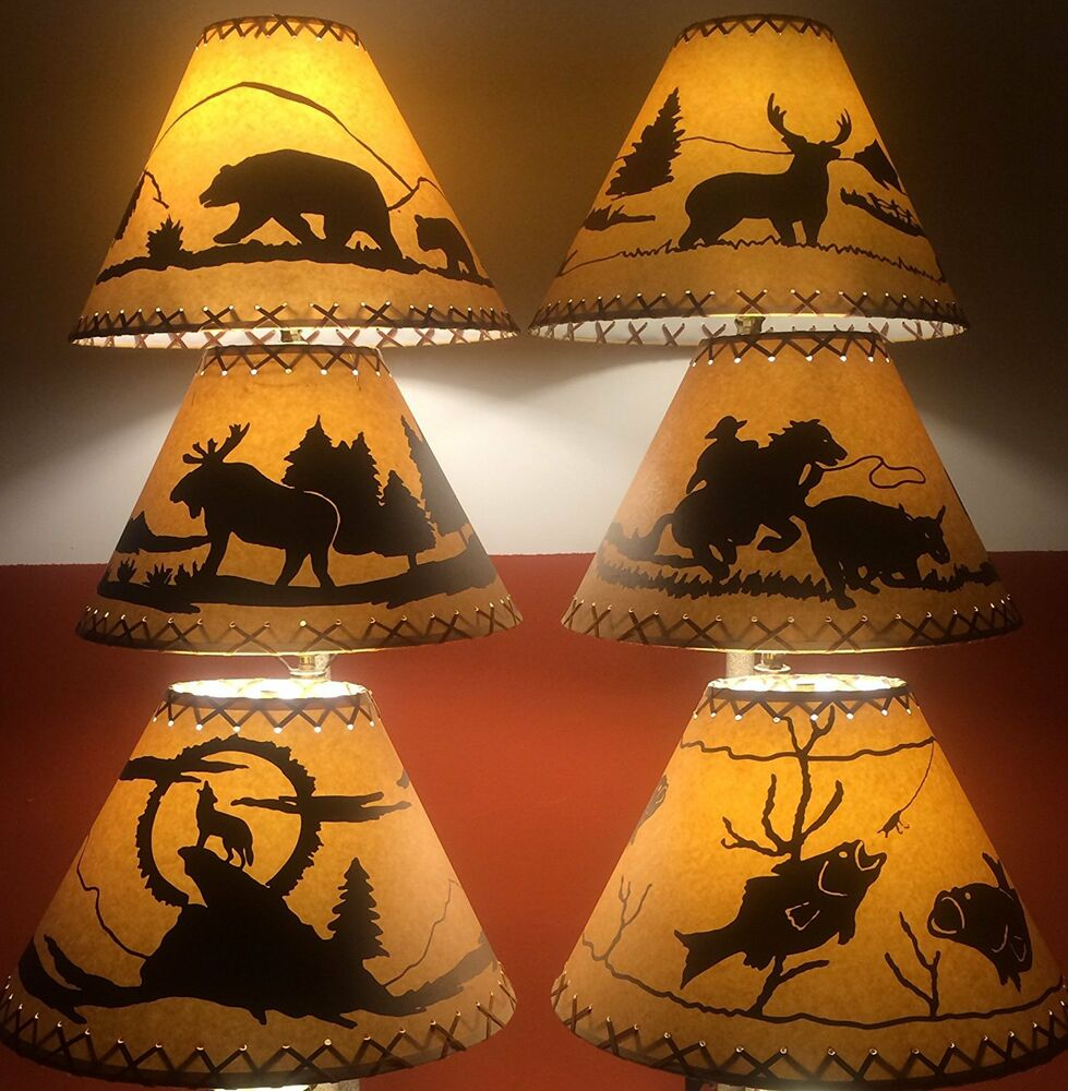 Cowboy lamp shade ebay rustic faux leather oiled paper lamp shades 9 styles to choose from mozeypictures Gallery