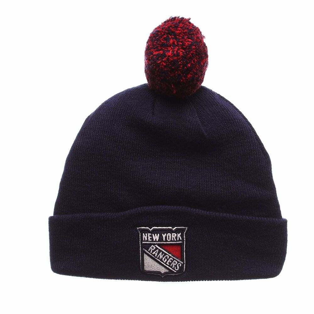 Details about New York Rangers NHL Youth Team Logo Navy Cuffed Knit Pom  Beanie Hat Hats e50334ee531