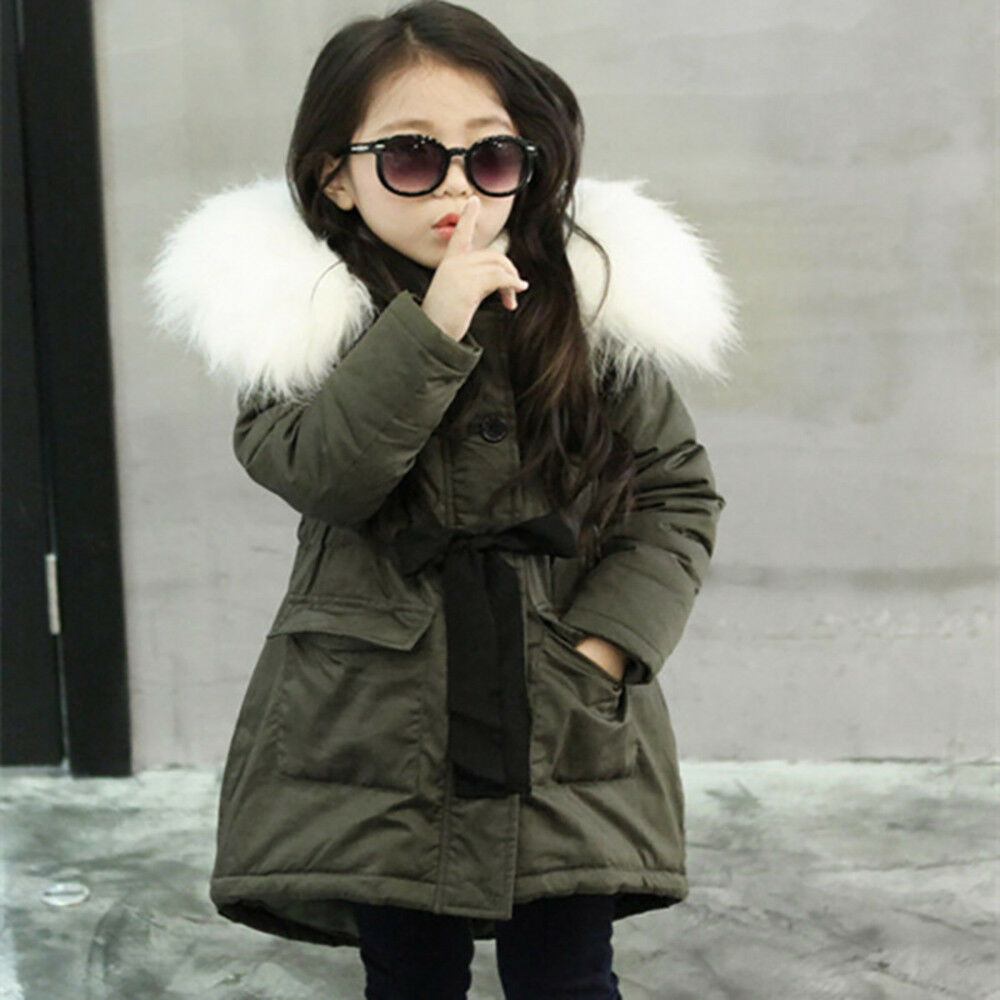 cf53576a28e6 Kid Baby Girl Fur Hooded Jacket Padded Long Coat Thick Warm Outwear ...