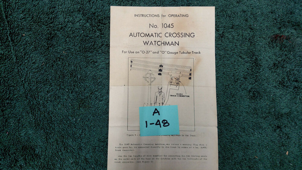 Lionel 1045 Automatic Crossing Watchman Instructions Original Ebay