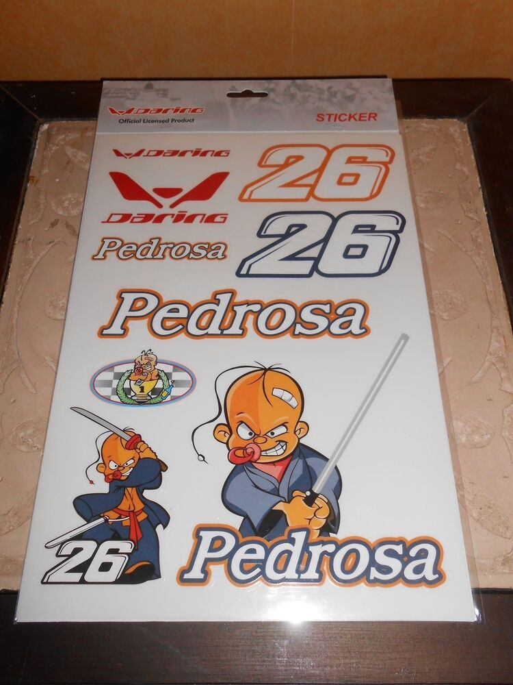 planche 9 stickers autocollants moto gp pedrosa sous blister ebay. Black Bedroom Furniture Sets. Home Design Ideas