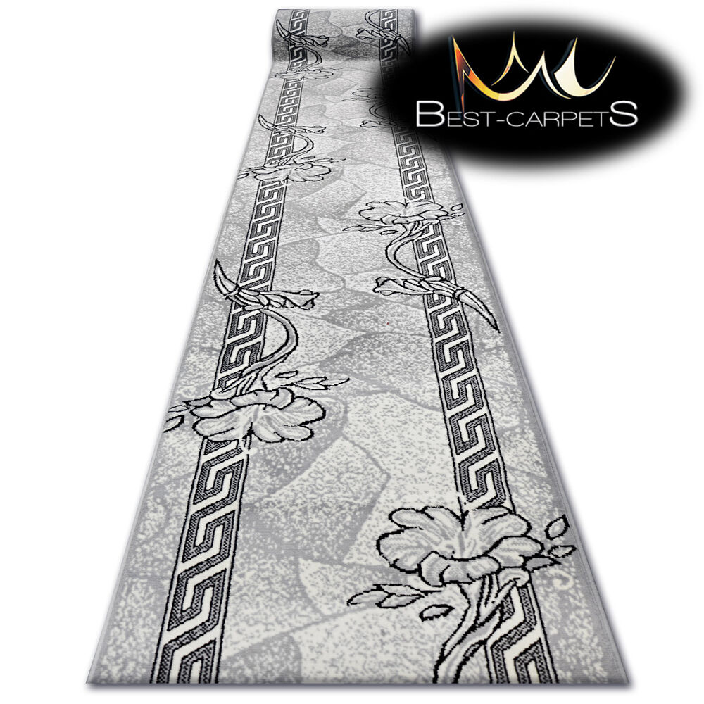 Modern Hall Carpet Runner Bcf Base Grey Floral Stairs 60
