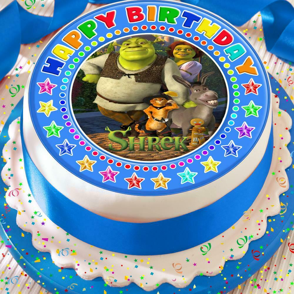 Details About SHREK FRIENDS BLUE HAPPY BIRTHDAY 75 INCH PRECUT EDIBLE CAKE TOPPER