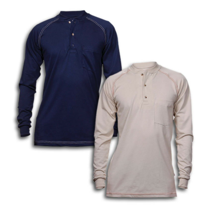 480d31ccf69 Details about FR Clothing Shirts Flame Resistant Henley Cotton Industrial  Work Uniform REED