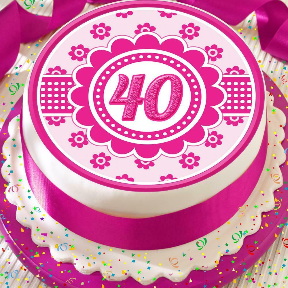 Details About 40TH HAPPY BIRTHDAY ANNIVERSARY PINK FLOWER 75 INCH PRECUT EDIBLE CAKE TOPPER