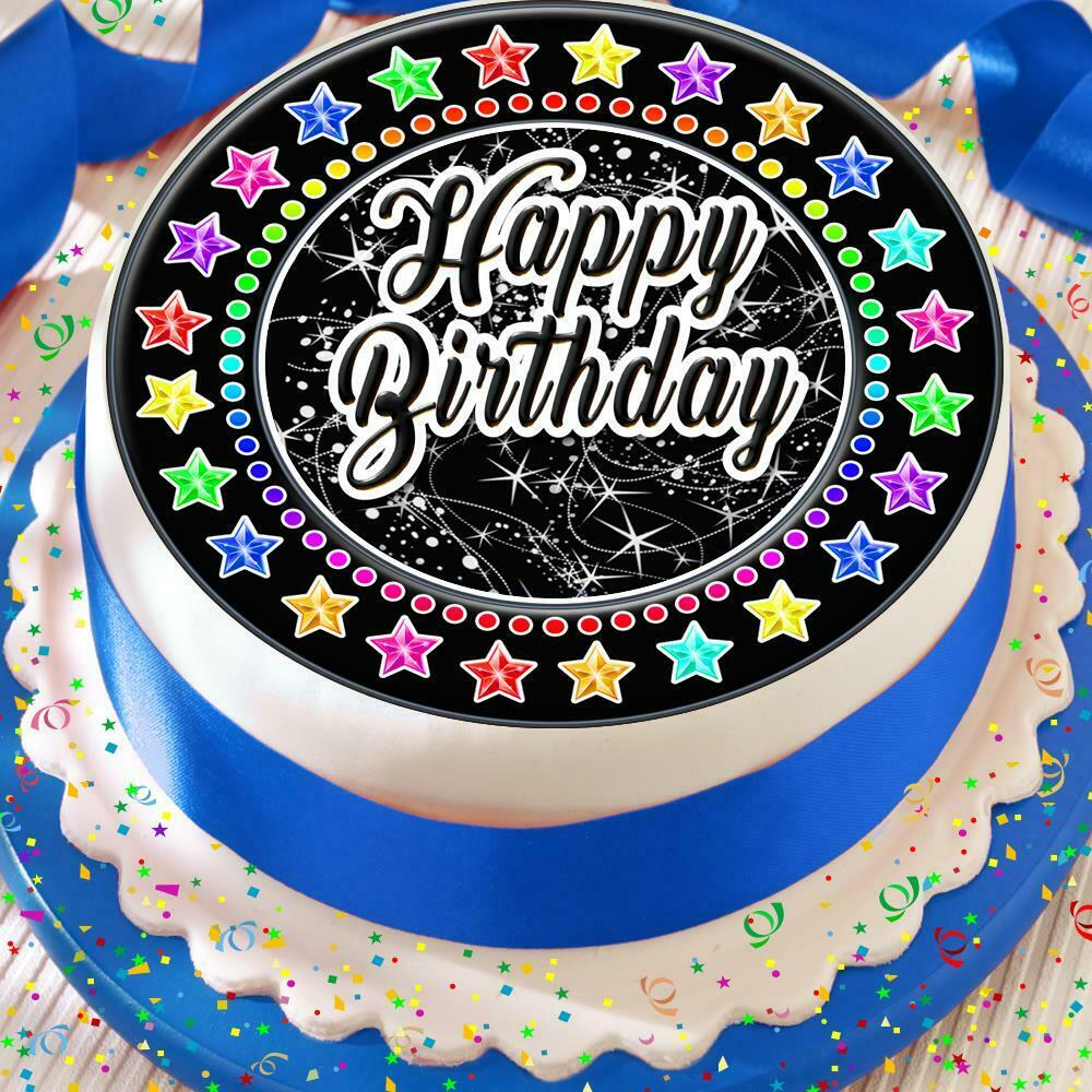 Details About HAPPY BIRTHDAY BLACK COLOURFUL 75 INCH PRECUT EDIBLE CAKE TOPPER DECORATION