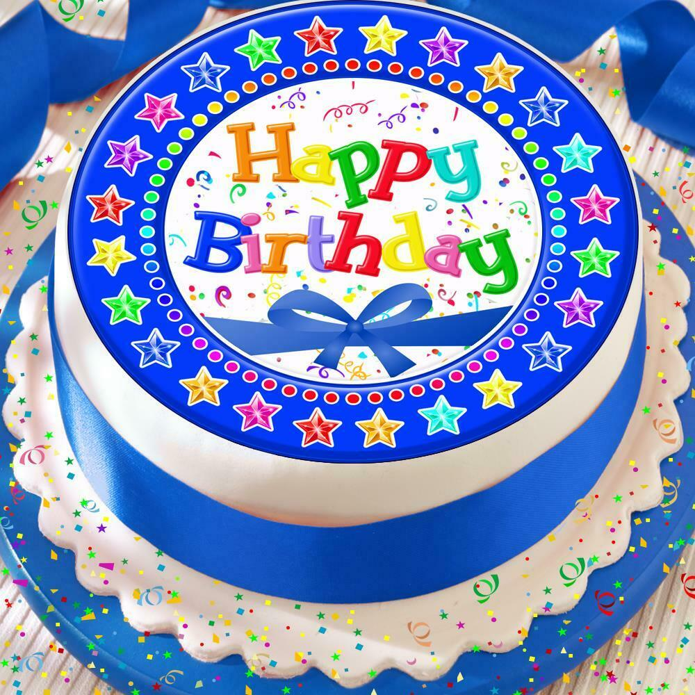 Details About HAPPY BIRTHDAY BLUE BOW STARS 75 INCH PRECUT EDIBLE CAKE TOPPER DECORATION