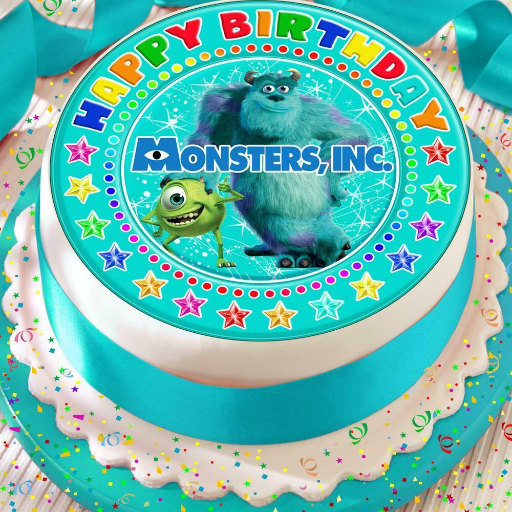 Details About MONSTERS INC HAPPY BIRTHDAY 75 INCH PRECUT EDIBLE CAKE TOPPER DECORATION