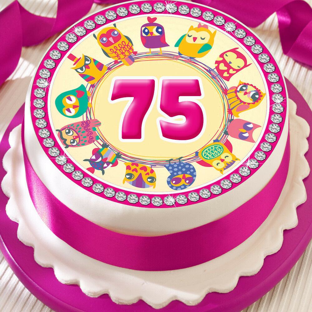 Details About PINK OWL 75TH BIRTHDAY ANNIVERSARY BORDER 75 INCH PRECUT EDIBLE CAKE TOPPER