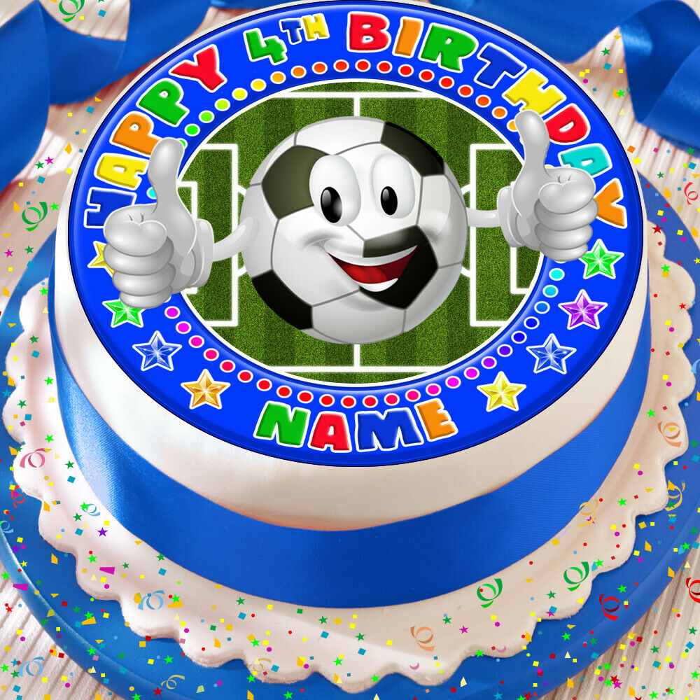 Details About FOOTBALL EMOJI BLUE PERSONALSIED 75 INCH PRECUT EDIBLE BIRTHDAY CAKE TOPPER
