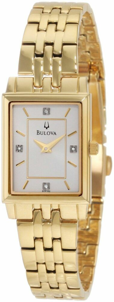 Bulova Ladies 97P102 Silver Dial Diamond Accent Gold-Tone Stainless Steel  Watch | eBay