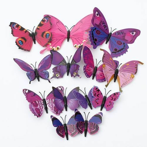 12 pcs art decal home room wall stickers 3d butterfly sticker decorations lu ebay. Black Bedroom Furniture Sets. Home Design Ideas
