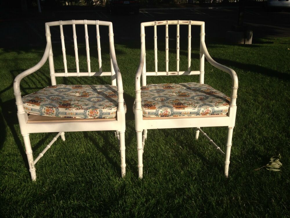 Pair Of Chairs Set Dining Bamboo Boho Chinese Chippendale Lounge