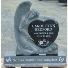 Cemetery headstone monument Black, 3-D angel, engraving included
