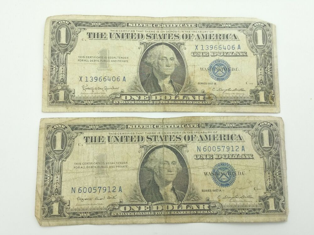 1957a 1957b Blue Seal One 1 Dollar Silver Certificate Bill Old
