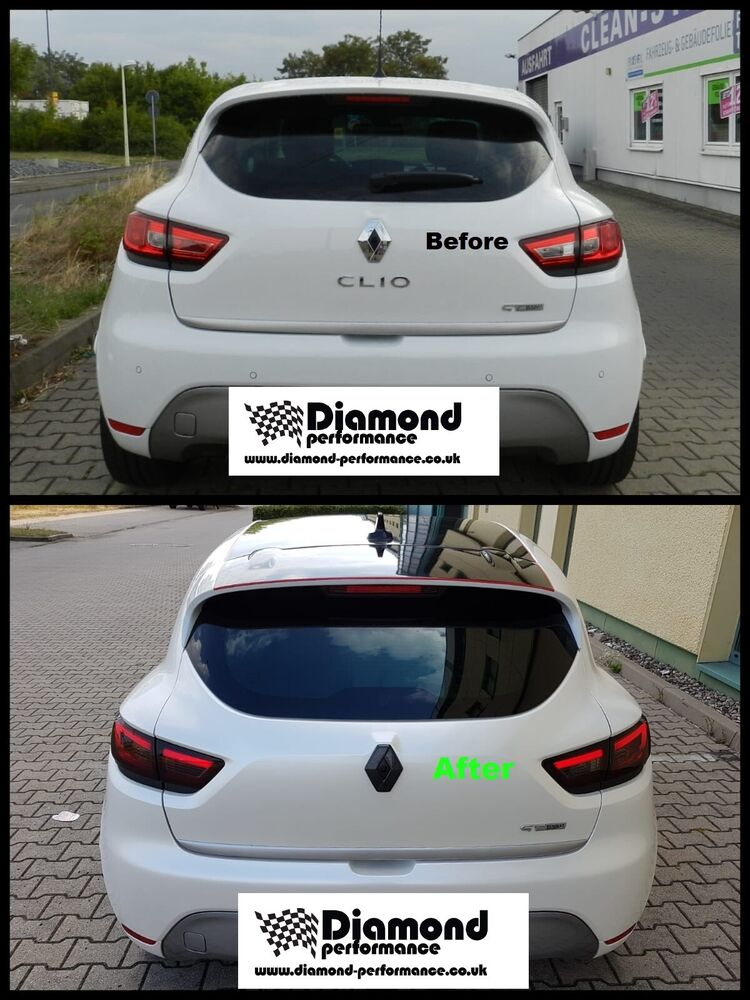 renault clio 4 models with rear camera 2013 2016 rear gloss black badge cover ebay. Black Bedroom Furniture Sets. Home Design Ideas