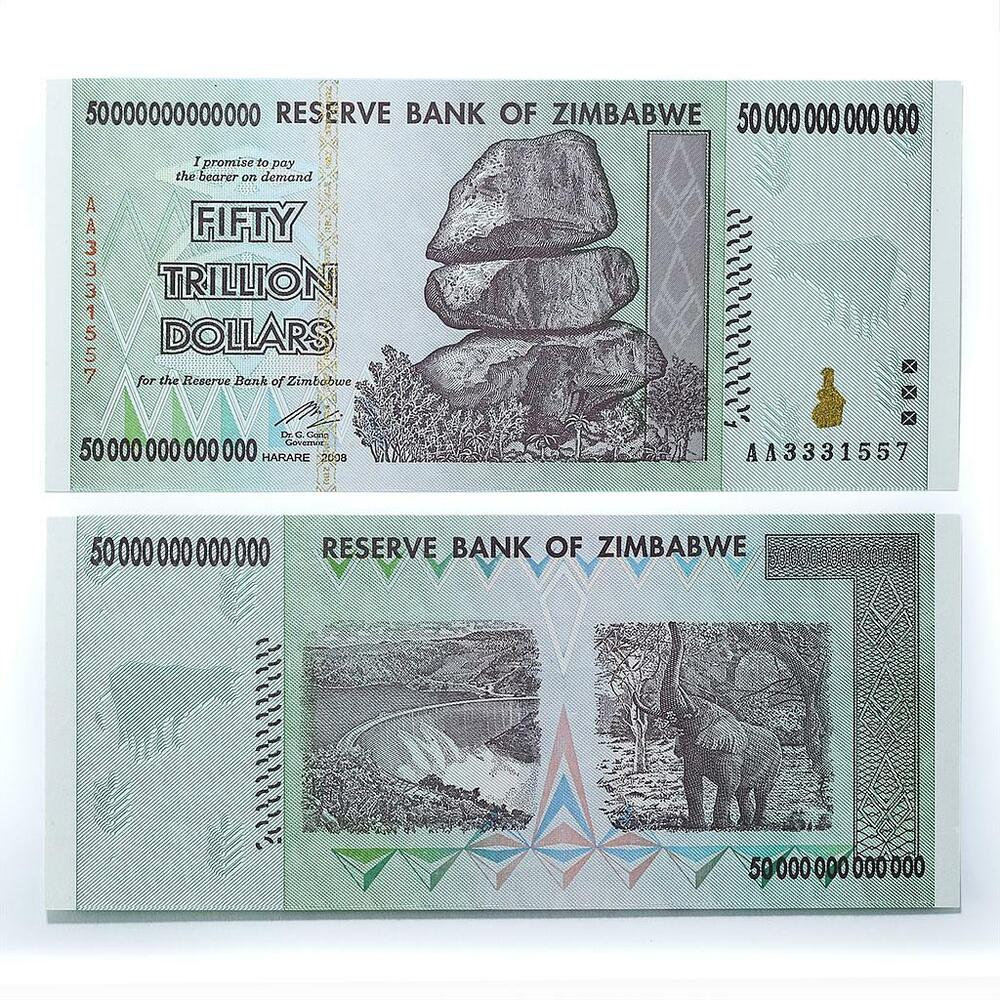 Details About Zimbabwe 50 Trillion Dollars Aa Series Banknote Currency Uncirculated 2008
