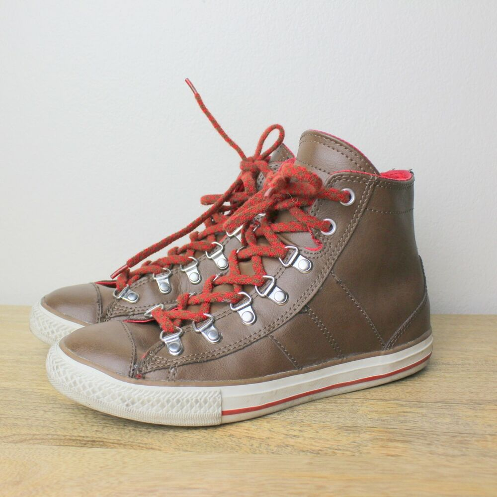 76aced66b78402 Details about Converse Brown Leather All Star Hi Tops Red Shoe Lace US 4  Junior Youth High