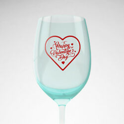 3x Happy Valentine's Day Vinyl Decal Stickers Wine Glass Cup Gift Party DIY