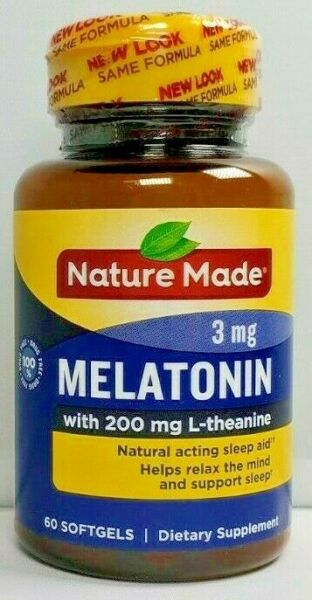 Nature Made Melatonin 3mg with 200mg L-theanine 60ct -Expiration Date 06-2019-