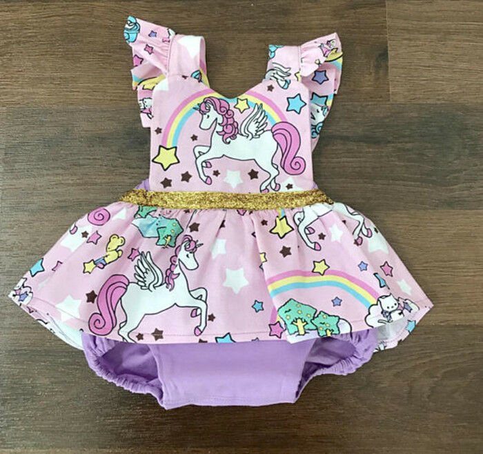 ef7bc7c5265c Details about Newborn Baby Girls Unicorn Romper Jumpsuit Bodysuit Clothes  Outfits Summer USA