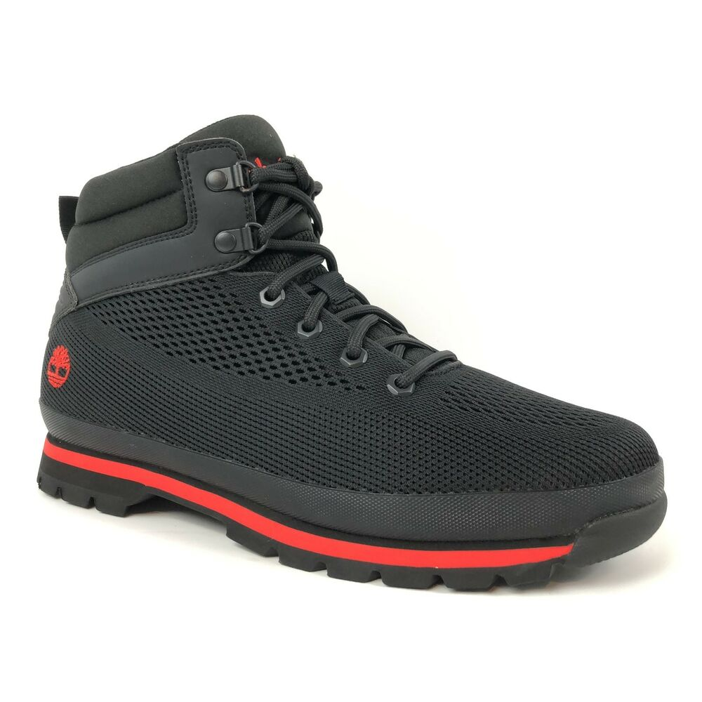 556b71c35c6d Details about Timberland Men s Knit Mesh Black Euro Hiker Hiking Ankle  Boots A1IDW