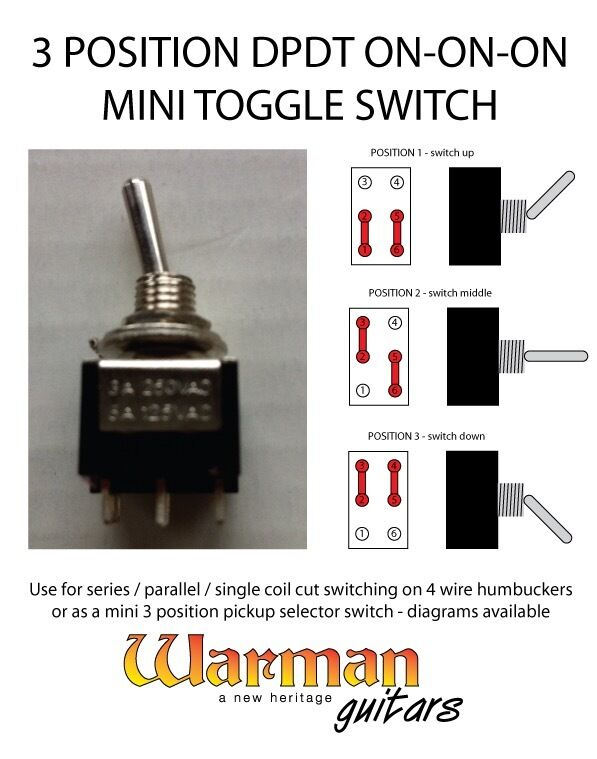 DPDT 3 position on-on-on mini toggle guitar switch, from ...