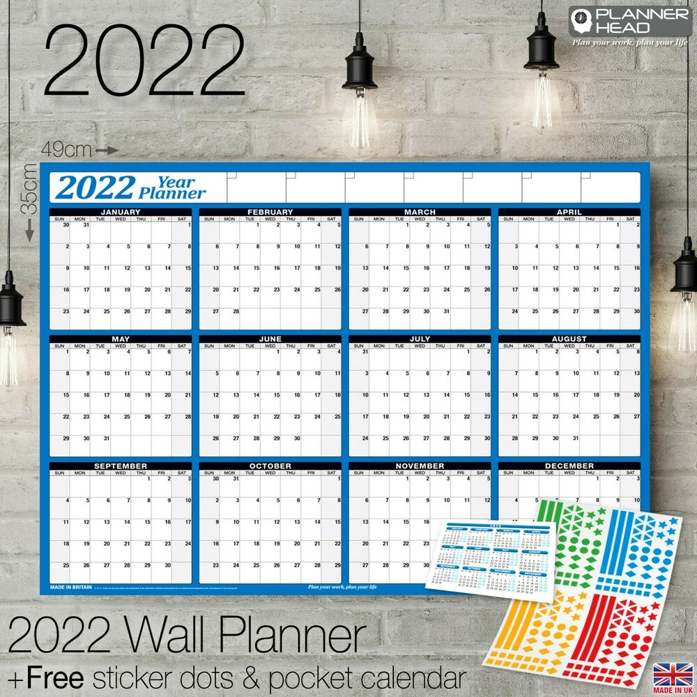2019 Yearly Planner Annual Year Wall Chart Blue A Free 2 Year Desk