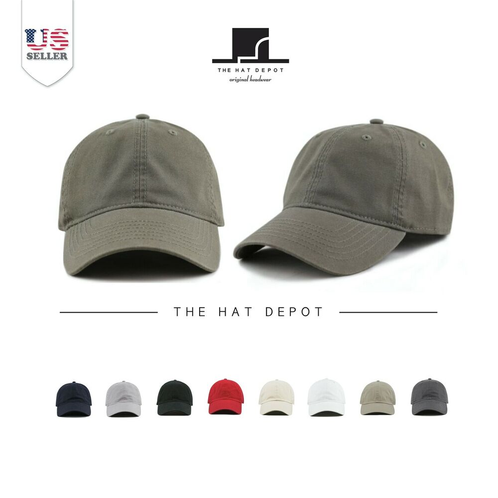 THE HAT DEPOT 100% Cotton Canvas 6-Panel Low-Profile Adjustable Dad  Baseball Cap  8b470d83266f