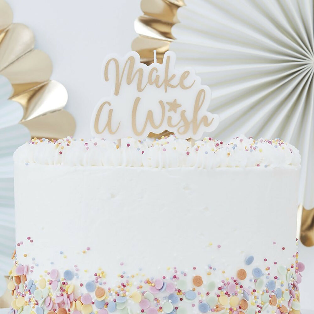 Details About MAKE A WISH BIRTHDAY CAKE CANDLE
